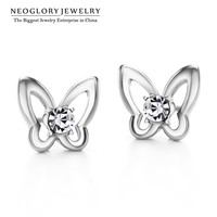 Neoglory Zinc Alloy Czech Rhinestone Butterfly Stud Earrings Women Fluorescent Jewelry Sale Hot Selling New 2017 JS6 But-e P1