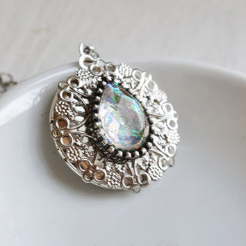 opal locket necklace,silver locket,mystical opal filigree locket,rhinestone,shabby chic,dragon eye,fire opal,bridesmaid gift,friendship gift