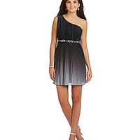 Xtraordinary One-Shoulder Pleated Dress - Black/Silver