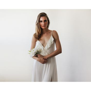 Bridal maxi wrap dress with ruffle and straps 1138