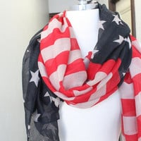 American Flag  print  scarf   great accessory for your outfit