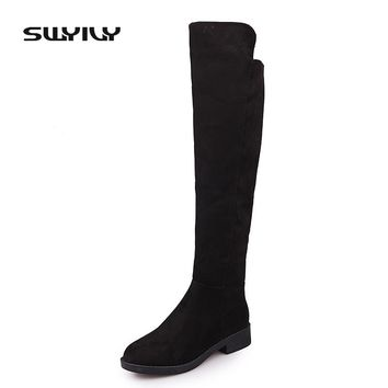 SWYIVY Women's Boots High Boot 3.5cm Low Heel Fashion Autumn & Winter Boot Thigh High Boots Leather Girl Black Winter Shoes