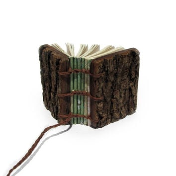Miniature Topography Map Rustic Natural Bark Bradford Pear and Walnut Wedding Guestbook or Wooden Mini Journal by Tanja Sova