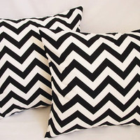 BOGO Sale - 2 Chevron Decorative Throw Pillow Covers Black and White - 18 x 18 inches Cushion Cover Accent Pillow