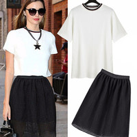 White T-Shirt and Black Net Cut-Out Midi Skirt