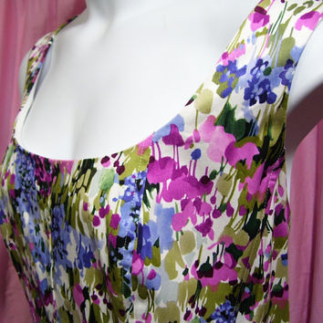 Summer Dress, Fit and Flare, White with Floral Purple Blue Green, Plus Size 22W, Jones New York, Resort Cruise Wear, Wedding