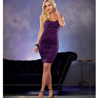 Stretch Jersey Ruched Dress W-built In Underwire Lace Bra Plum Sm