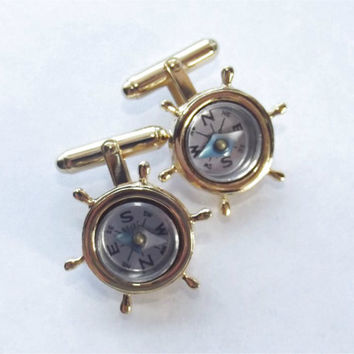 Vintage Nautical Working Compass Cufflinks Goldtone Ships Wheel Sailing Helm Cuff Links Steampunk