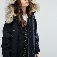 Free People Whistler Parka With Faux Fur Trim Hood at asos.com
