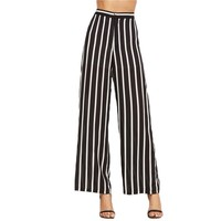 Vertical Striped High Waist Wide Leg Pants