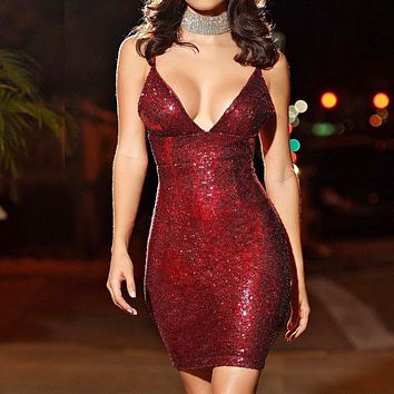 Summer Fashionable Women Sexy Deep V Collar Sequins Sling Dress Red