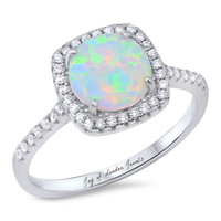 A Perfect 2CT Round Cut Australian White Opal Cabochon Halo Engagement Ring