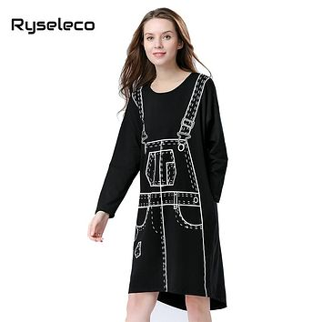 Spring Long Bat Sleeve Dress Women Clothing Novelty 3D Pattern Print Kawaii Punk Loose Knee Length Midi Straight Autumn Vestidos