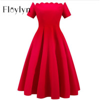 FLOYLYN Women Dress Robe Vintage Short Sleeve Off Shoulder Summer Dress Jurken 1950s 60s Retro Rockbilly Swing Party Dresses