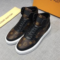 LOUIS VUITTON Black Brown Hi-Top Leather LV Sneakers - Best Deal Online