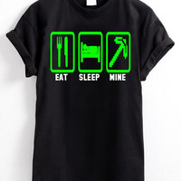 Eat Sleep Mine Minecraft Creeper PlayStation Xbox Game T Shirt