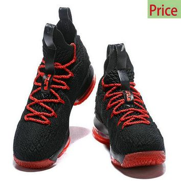 Sneaker paint 2018 Nike LBJ LeBron 15 XV Bred Black Red Basketball Shoes sneaker