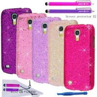 Eco-Fused Case Bundle for Samsung Galaxy S4 Mini (I9195) including 5 Bling Glitter Covers / 4 Stylus Pens / 2 Screen Protectors / Opening tool / Microfiber Cleaning Cloth included