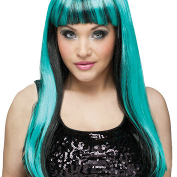 Costume Accessory: Wig Natural | Black/Teal