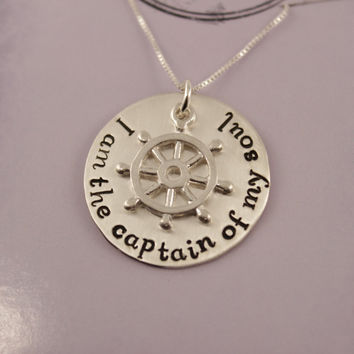 I am the captain of my soul - sterling silver and brass necklace