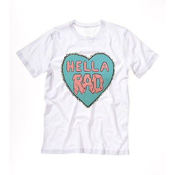 HELLA RAD T shirt Tshirt Tee Tumblr blanc unisexe fashion women pink white tee shirt tumblr graphic size S M L - 5sos one direction