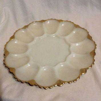 "10"" Anchor Hocking Milk Glass Deviled Egg Plate Shell Pattern With Gold Trim"