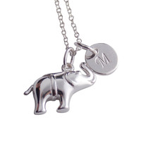 Elephant Necklace, Initial Elephant Jewelry, Sterling Silver, Elephant Charm, Lucky Elephant Necklace, Personalize Women, Teen Girl Gift