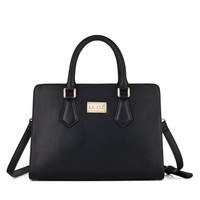 La Clé Top Handle Structured Handbag Tote Purse Briefcase Leather Bag (Black)