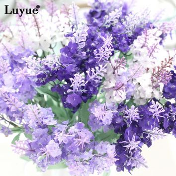 Luyue 10 Heads Artificial Lavender Flowers Wedding Decor Garden Simulation Fake Silk Hyacinth Flowers Bouquet Home Garland Decor