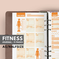 Fitness Journal A5, Filofax A5 insert, Fitness Planner A5 Filofax insert, Workout Filofax Planner, Fitness A5 Planner, Health Planner