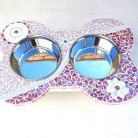 Couture Dog Station, gifts for pets, food bowls for dogs, elevated large dog feeder, mod mosaic diner, raised dog bowls,
