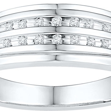 10kt White Gold Mens Round Channel-set Diamond Double Row Wedding Band Ring 1/10 Cttw 108829