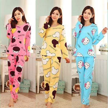 19 Colors 2017 Women Pajamas Suit Spring Autumn Winter Cartoon Female Long-sleeve Pajama Pants Milk Silk Pajamas Suits tracksuit