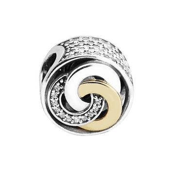 Fits for Pandora Bracelets Interlinked Circles Beads with 14K Real Gold 100% 925 Sterling Silver Charms Jewelry Perlas BerloQue