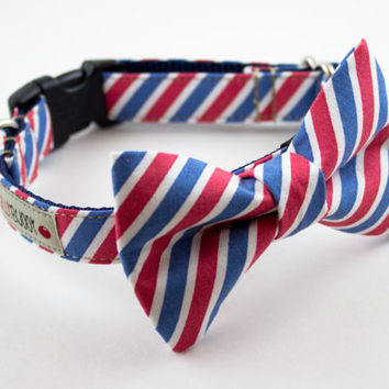 Red White Blue Stripes Dog Bow Tie Collar by SillyBuddy on Etsy