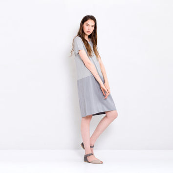 Light Grey Bridesmaids Shift Block Summer Dress