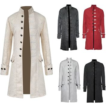 Retro Mens Steampunk Gothic Brocade Jacket Stand Collar Victorian Morning Frock Coat Trench Velvet Trim S-3XL