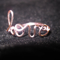 Light Pink Love Ring Wire Wrapped Dainty by aLilJazzJewelry