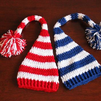 Crochet Christmas Elf Hat Santa Hat Winter Hat Striped Hat Baby Elf Hat Royal Blue White Red White Elf Hat Baby Christmas hat