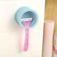 Amazon.com: Wall Suction Shaver Holder Razor Tool Shelf Blue White