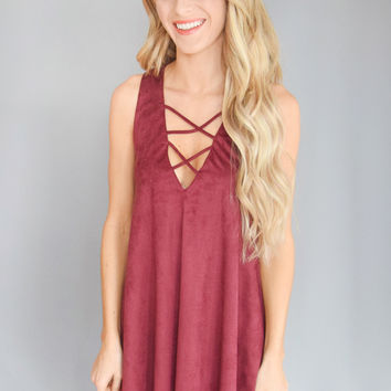 Winding Road Faux Suede Dress Burgundy