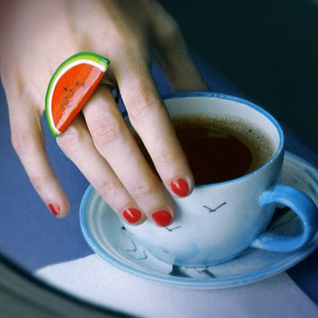 Watermelon Red Ring, handmade funny bright jewelry, red and green, summer pun-up style jewelry