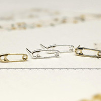 Safety Pin studs earrings in silver gold, 925 sterling silver post