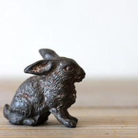 Vintage German rabbit figurine / metal bunny / rustic home decor / woodland inspired decor / collectible / cabin decor / Germany / patina