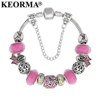 KEORMA Lovely Girl Silver Color Women Bracelet Murano Glass Bead Crystal Breast Cancer Awareness Pink Ribbon Charms Bracelet