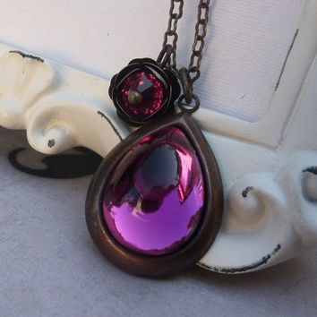 Fuschia Teardrop and Rose Necklace by lunarbelle on Etsy