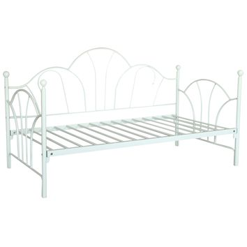 Twin Ivory Bed Frame Contemporary White Metal Daybed