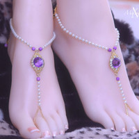 Orchid Purple White Gold Beaded Barefoot Sandals Beach Wedding