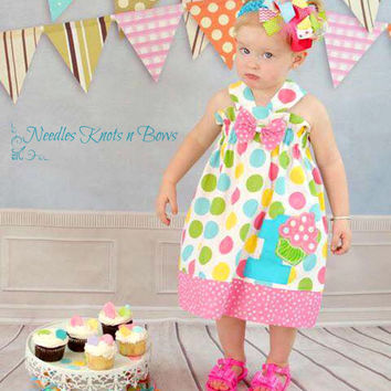 Girls Cupcake Birthday Dress, Girls First Birthday Cupcake Dress, Girls Polka Dot Dress, Sizes 6/9 Months, 1, 2, 3, 4, 5, 6