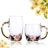 New Colored Enamel Coffee Cup Mug Tea Juice Flower Mark Heat-resistant Glass Drinkware With Gift Box
